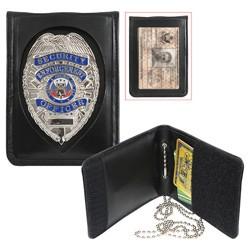 Pouzdro pro odznak, ID kartu a karty kožené ÈERNÉ