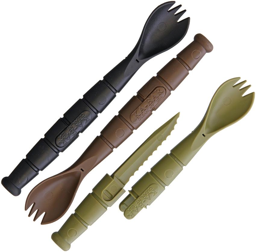 Lžíce TACTICAL vèetnì nože TMAVÉ 3 kusy