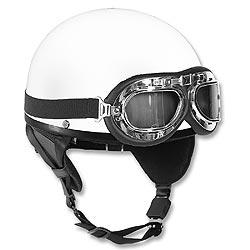 Helma motocyklová RETRO BÍLÁ