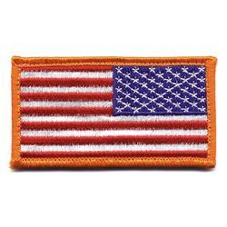 Nášivka US vlajka reverzní 4,5 x 8,5 cm ORANŽOVÝ lem