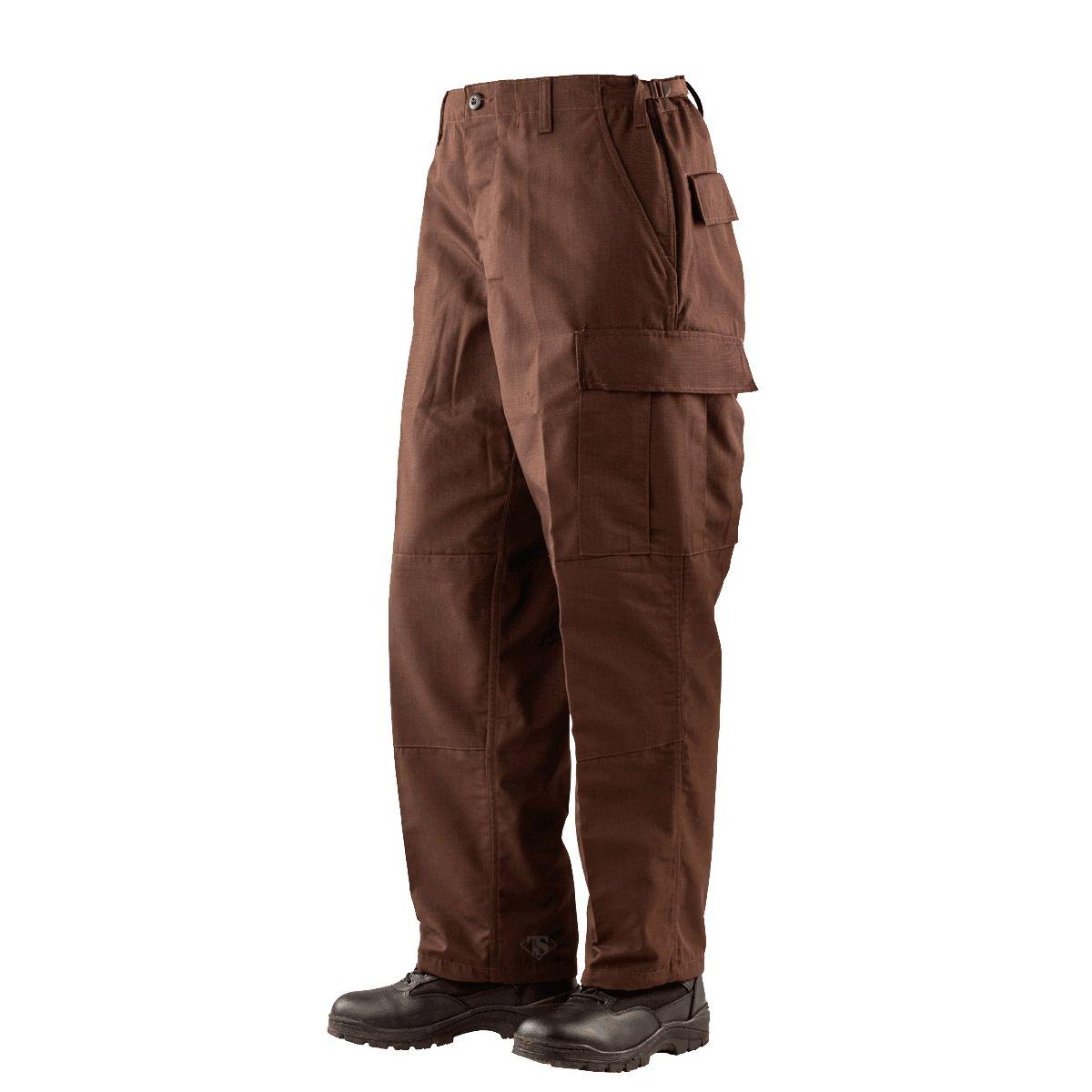 Kalhoty TRU POLICE ZIP FLY rip-stop HNÌDÉ