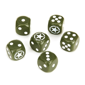 Kostky hrací 6ks MILITARY