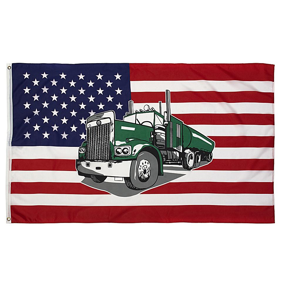 Vlajka USA s kamioném TRUCK
