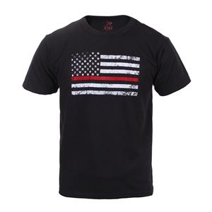 Triko dìtské THIN RED LINE US vlajka ÈERNÉ