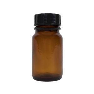 Lahvièka sklenìná HNÌDÁ 60 ml s plastovým èerným víèkem