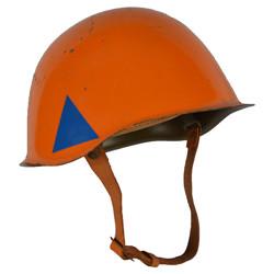 Helma civilní obrany ocelová použitá ORANŽOVÁ