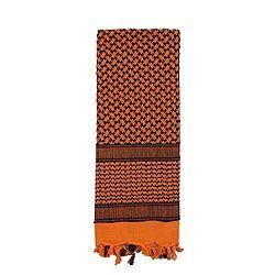 Šátek SHEMAGH 105 x 105 cm ORANŽOVO-ÈERNÝ