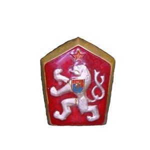 Odznak ÈSLA - LEV smaltovaný ÈERVENÝ
