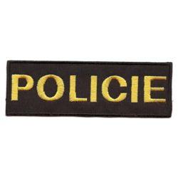 Nášivka POLICIE malá ÈERNÁ se žlutou nití VELCRO