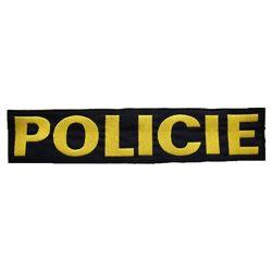 Nášivka POLICIE velká ÈERNÁ se žlutou nití VELCRO