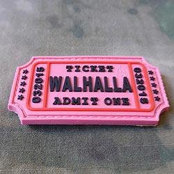 Nášivka WALHALLA TICKET velcro plast RÙŽOVÁ