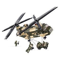 Stavebnice vrtulník CHINOOK s malým jeepem