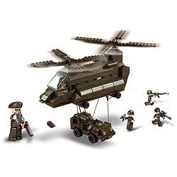 Stavebnice trasportní vrtulník s malým jeepem